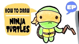 How to Draw Michaelangelo from Ninja Turtles - Chibi - Easy Pictures to Draw