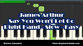 James Arthur - Say You Won't Let Go - Right Hand Slow Piano Tutorial - Notes