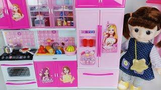 Baby doll and kitchen cooking refrigerator toys food play 아기인형 쥬쥬 주방놀이 냉장고 장난감 요리놀이 - 토이몽
