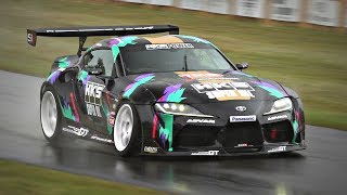 Toyota GR Supra A90 with 2JZ Engine Swap by HKS   Drifts, Donuts & TURBO Sounds @ FoS Goodwood