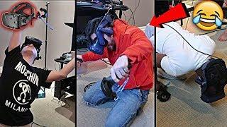 TEAM ALBOE TRIES VIRTUAL REALITY!! *HILARIOUS GAMEPLAY* | HTC VIVE