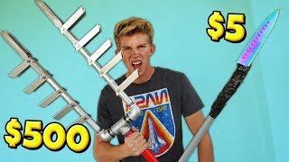 We built $5 vs $500 Apocalypse Survival Weapons! *WEAPON BATTLE*