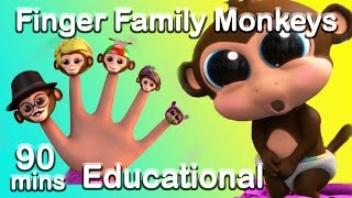 Finger Family Song with the Five Little Monkeys (Learn Counting) Nursery Rhyme Compilation