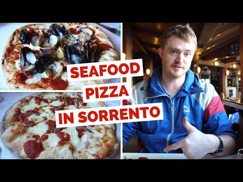 Seafood Pizza in Italy at a restaurant in Sorrento, Naples