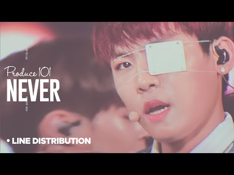 PRODUCE 101 - Never : Line Distribution (Color Coded)