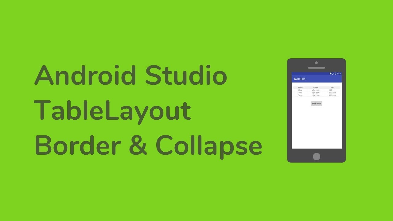 Sava video -[Android Studio] TableLayout - Border & Collapse