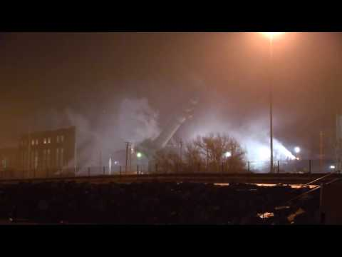 Video footage of Lake Shore Power Station demolition in Cleveland, Ohio.