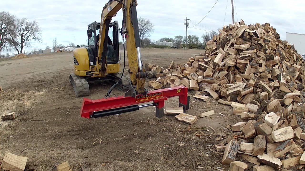 Mini Excavator With Wood Splitter Youtube