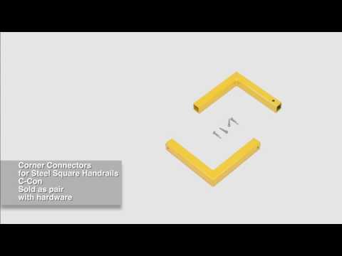 Steel Square Handrails Corner Connectors C-CON