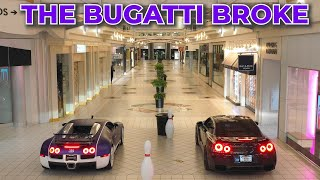 Rented a Shopping Mall to Drag Race: Bugatti vs. Nissan GTR