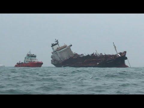 Oil tanker catches fire off Hong Kong