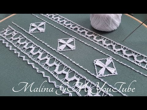 Lace border line   Border Hand Embroidery   Romanian Lace  & stitches