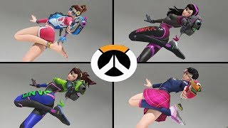 Overwatch - All D.Va Skins with All Highlight Intros!