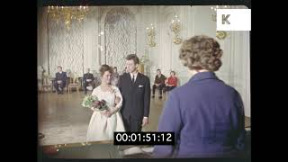 1960s Wedding, Young Couple Signing Marriage Register, HD