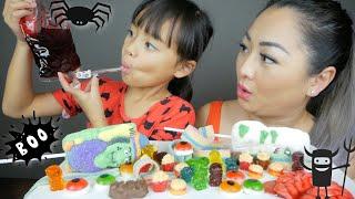 Halloween Candy!! Gummy, Sticky Brain Gummy & Marshmallows Mukbang | N.E Let's Eat
