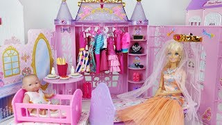 Baby doll and Barbie house bed closet toys kitchen play 바비 침대 하우스 옷장과 아기인형 주방 장난감놀이 - 토이몽