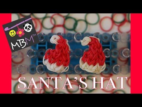 Rainbow Loom Band Santa Hat Charm for Christmas - EASY
