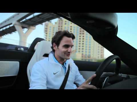 Roger Federer drives the Mercedes-Benz SLS AMG Roadster
