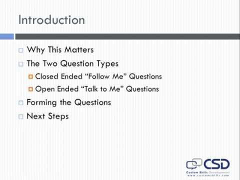 The Two Question Types - A Training Course for Commercial Real Estate Agents
