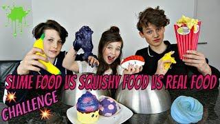 SLIME FOOD vs SQUISHY FOOD vs REAL FOOD CHALLENGE - Bibi, Hugo, Tobias