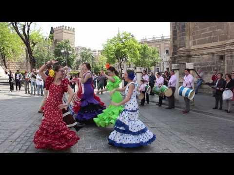 Dancing Sevillanas in Plaza del Triunfo - Spring 2015