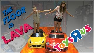 THE FLOOR IS LAVA CHALLENGE AT TOYS R US    Taylor and Vanessa