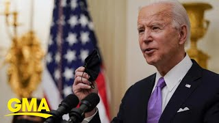 Biden launches national 'wartime' strategy to stop COVID-19 l GMA