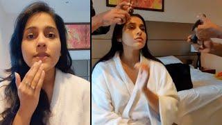 Watch: Anchor Rashmi Gautam pre-makeup routine..