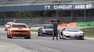 Supercars Drag Racing! Aventador vs GT-R vs Turbo vs R8  More
