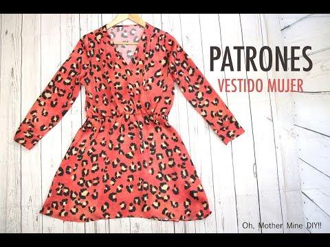 Patrones vestido corto cruzado de mujer (gratis en varias tallas)