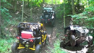 Extreme Side by Side Trail Riding Action - Polaris RZR's vs Can Am Maverick's