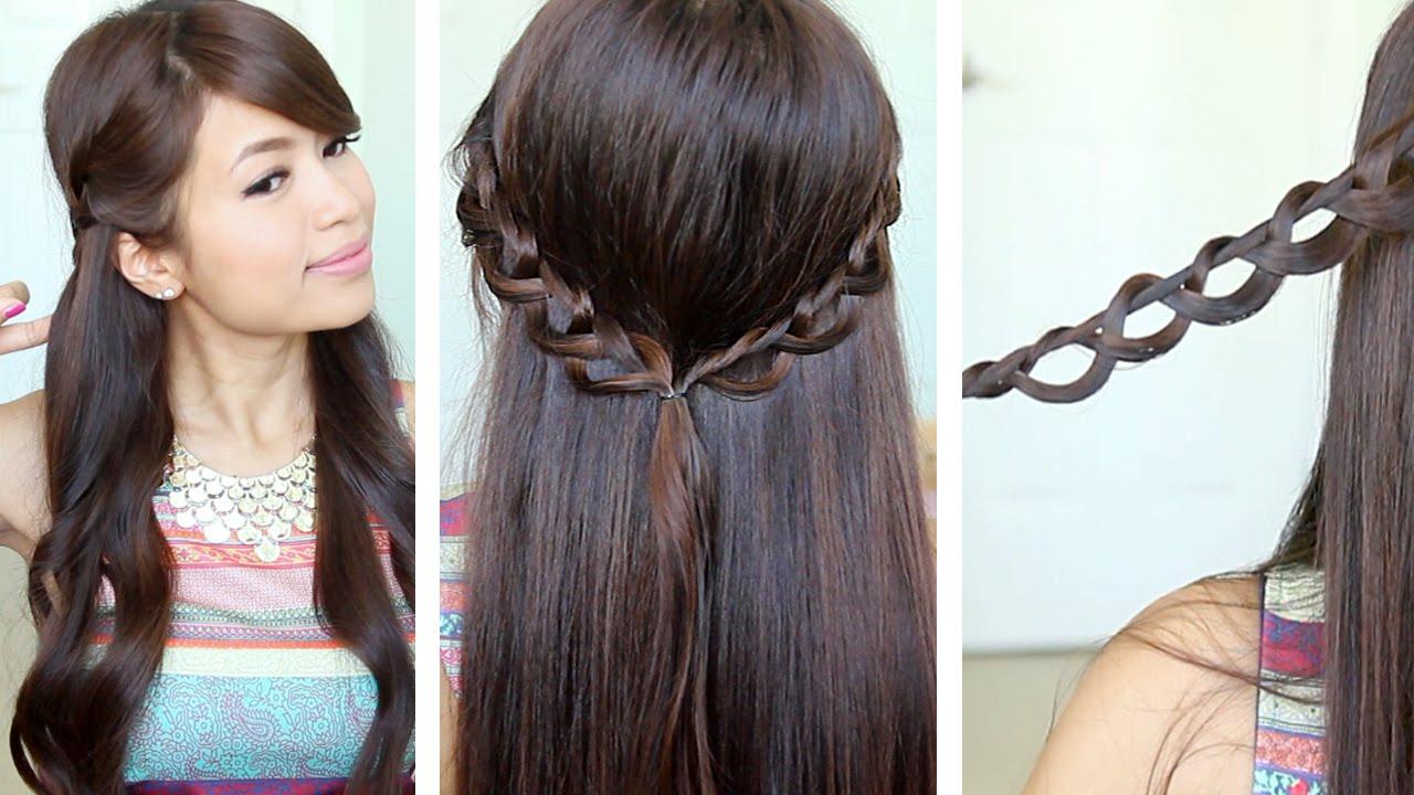Hairstyles Braids Easy Tutorial: Chain Braid Headband Hairstyle For Medium Long Hair