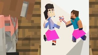 Monster School: Girls vs Boys LOVE - Drawing - BIG GUNS Challenge - Minecraft Animation