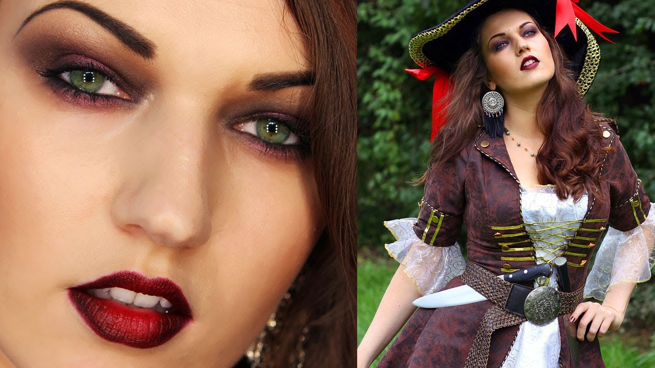 SEXY PIRATE Halloween Look (Makeup Hair Costume) - YouTube