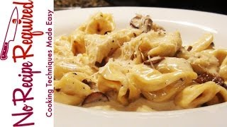 Tortellini in Mushroom Alfredo Sauce - NoRecipeRequired.com