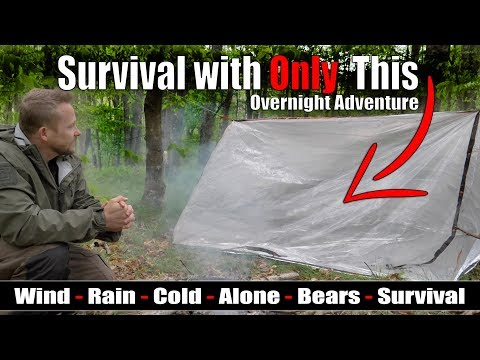 Survival Overnight Adventure - Lost on the Trail with only the Emergency Pocket Super Shelter
