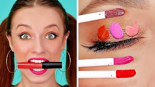 FUNNY DIY MAKE UP HACKS AND TIPS || Cool And Simple Girly Ideas by 123 GO!