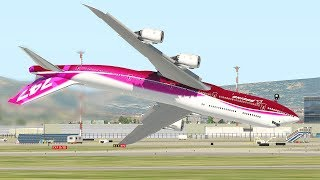 Boeing 747 Inverted Landing Attempt   Compilation Of Landings And Takeoff In X-Plane 11