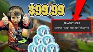 💰Kid Spends $100 In Fortnite V-Bucks💰 [Noob Tries To Win!😂]