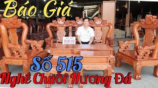 Bộ ghế nghê chuỗi cột 12 hương đá sơn BÓNG MỜ cực đẹp|Đồ Gỗ Trâm Anh| số 515