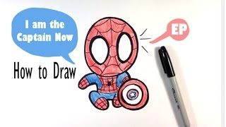 How t Draw a Cute Spider-man - Captain America: Civil War - Easy Pictures to Draw
