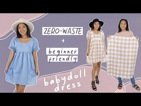 Make a ZERO-WASTE babydoll dress (beginner sewing project)
