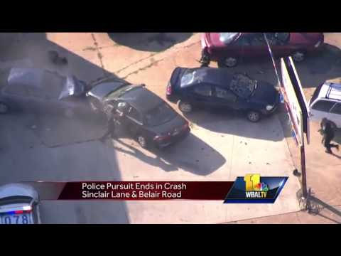 Baltimore police pursuit ends in crash