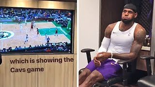 LeBron James Is Watching The Cavaliers Game In The Lakers Locker Room