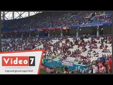 الأجواء بملعب فولجوجراد قبل انطلاق مباراة مصر والسعودية