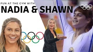 fun at the gym with olympians nadia comaneci and shawn johnson   the east family