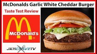 McDonald's NEW Garlic White Cheddar Burger Taste Test Review | JKMCraveTV