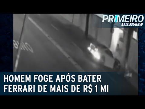 Motorista bate Ferrari, arranca placa e foge do local em Vitória | Primeiro Impacto (19/07/21)
