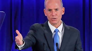 Boeing CEO Dennis Muilenburg answers questions at the company's shareholder meeting