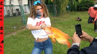 NEW GIRLFRIEND Catches GIANT EXOTIC FISH for POND COLLECTION!